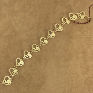 Girls 5 Inch 14K Gold Hearts & Roses Bracelet